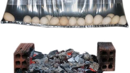 将鸡蛋放进塑料袋里并加水,底下烧火会煮熟鸡蛋吗?网友:悬了
