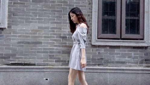 适合办公室女孩的穿搭,灰色露肩连衣裙尽显高级感,优雅又气质