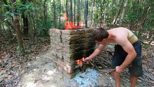 原始技术,澳洲小哥砌窑烧砖,你学会了吗?