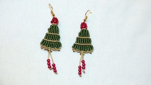 手工编织首饰饰品教学,教你用线编织圣诞树形状的耳环耳饰
