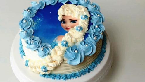 冰雪奇缘蛋糕:好漂亮的艾莎公主,真心舍不得吃啊!