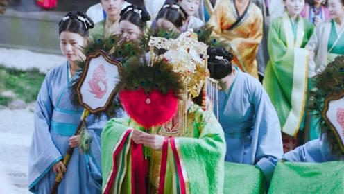 皇后大婚之日,盛装打扮惊艳亮相,一袭绿色嫁衣真的太美啦