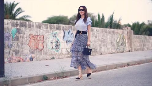 层叠袖上衣加飘逸长裙,搭配坡跟绑带鞋