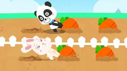 小兔子在原地大哭起来,小熊猫见了走过来,直接到田里拔萝卜!