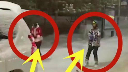 两男子越野车牵引街头滑雪自嗨,遭交警喊话:将处罚!