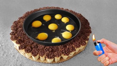 10000根火柴点燃能把鸡蛋煎熟吗?老外大胆实验,成品看得流口水