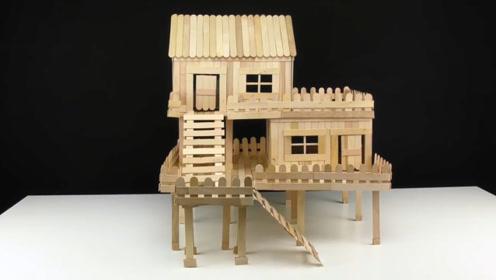 为了让老鼠有个窝,小伙用雪糕棒造了一座房,看着太豪华了!