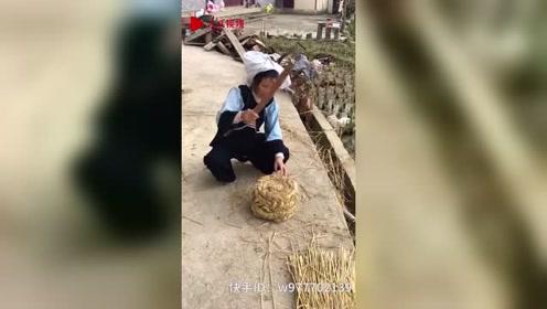 5旬布依族阿姨用稻草做凳子40年 网友争相购买:快失传了