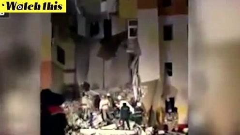 俄罗斯一居民楼发生爆炸 建筑大面积坍塌