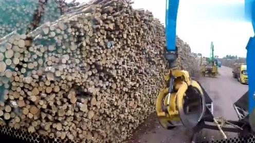 木材厂新到的挖机抓木机械,有了它装卸效率能顶10个工人!