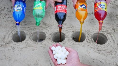 碳酸饮料与曼妥思倒进地洞中,结果一发不可收拾!