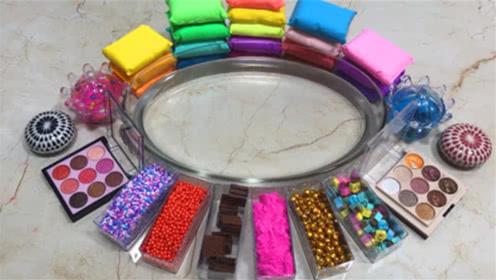 彩虹珍珠豆,粉底,彩虹黏土,炫彩水晶泥混搭,颜色漂亮到没朋友