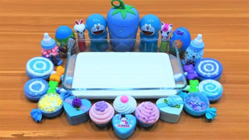 DIY史莱姆教程,蓝色大草莓混合爱心礼物盒、棒棒糖、小饰品