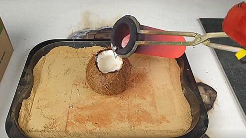 老外把1000度铜水倒在椰子中,结果会怎样?3秒后场面控制不住了!