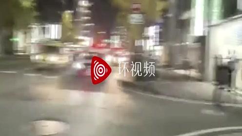 日本街头,出租车撞车后又撞人