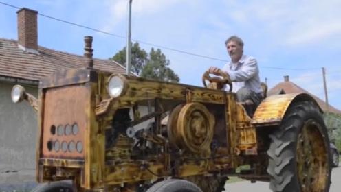 老木匠退休前的杰作,用木头自制拖拉机,富商出价378万被拒