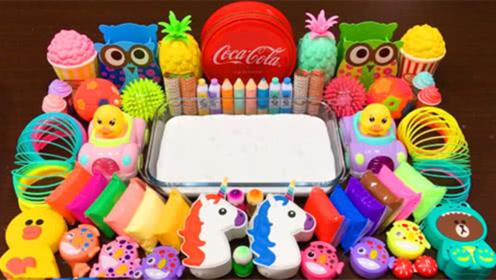 创意史莱姆教程,彩虹黏土+猫头鹰彩泥+亮彩粉,好看解压
