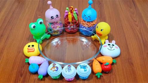DIY史莱姆教程,胡萝卜水晶泥、彩色的小球、兔子彩泥