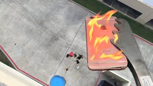 燃烧的苹果手机从30米高空落下,还能幸存吗?结果让人不敢置信!