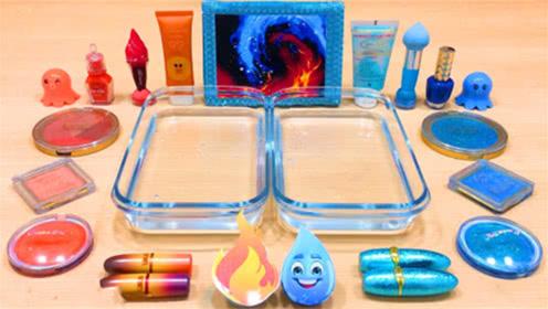 DIY史莱姆教程,口红指甲油+护手霜+眼影,颜色棒棒哒