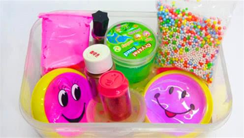 创意史莱姆教程,彩虹珍珠豆+起泡胶+炫彩果冻泥,超好玩呢
