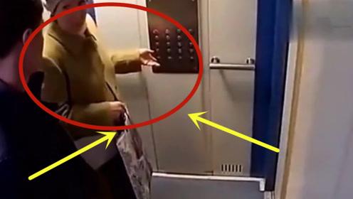 猥琐男子跟着大妈进电梯,不料连大妈都不放过,监控拍下全程!