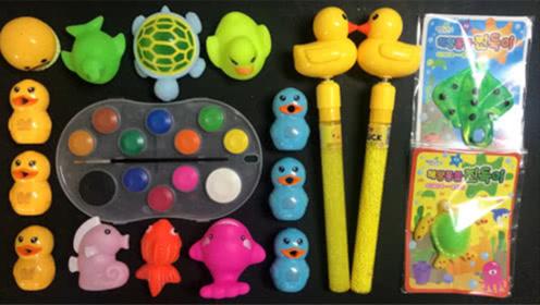 DIY史莱姆教程,可爱的宠物泥混合小乌龟泥、颜料