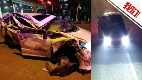 """车""""坚强""""?被撞毁半边仍在高速继续行驶 甚至右前轮都破了"""