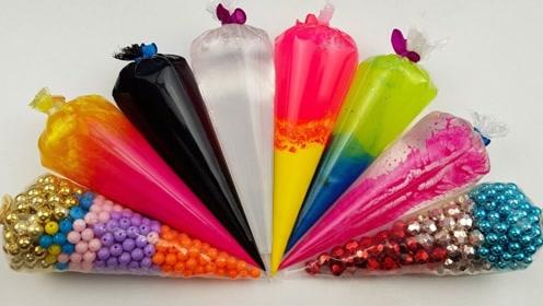 彩色琉璃珠加入到水晶泥里会变什么样?DIY自制无硼砂水晶泥