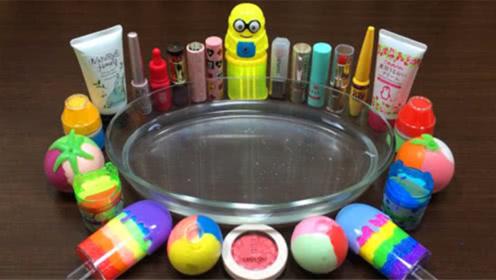 DIY史莱姆教程,彩虹雪糕米粒泥、浴室化妆品混搭,颜色美美哒