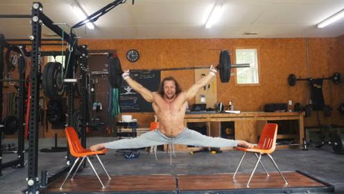 肌肉男有多猛?能在椅子上劈叉举杠铃,网友:就问你服不服