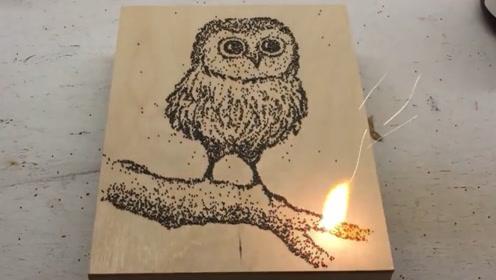 老外用火药画了一只猫头鹰,一把火将其点燃后,画的价值翻了几倍