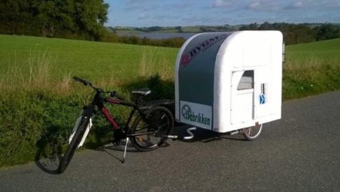 """自行车拉着走的""""折叠房车""""!车内能睡2人,帐篷可以扔掉了!"""