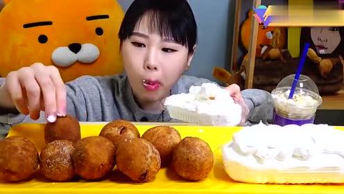 美食吃播:大胃王卡妹真的是不怕胖!奶油都这么大口的吃!