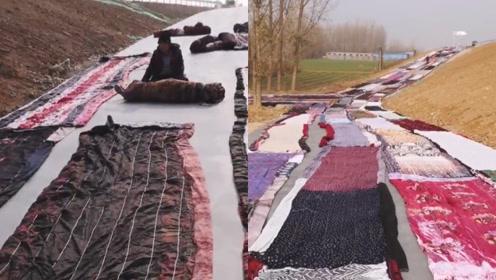 大型晒被现场?水泥路上铺满500条棉被,网友:其实是怕路冷