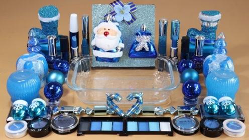 DIY水晶泥,混合各种化妆品、眼影、亮晶晶,自制无硼砂史莱姆
