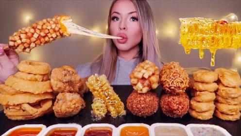 吃播界超流行的美食,美女凑齐一桌,难道就不怕发福吗?