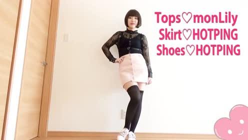 黑色蕾丝衬衫配粉色短裙,韩范儿十足!