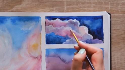 水彩画初学者如何画好棉花糖般的云