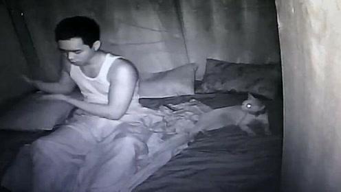 网友装摄像头想自家猫晚上在干什么。结果拍到了自己梦游!