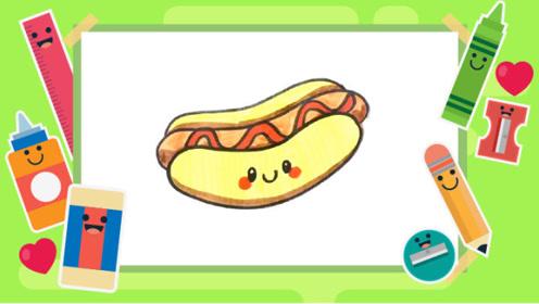 趣味简笔画:如何画热狗-美食手绘美食系列-学画画学英语