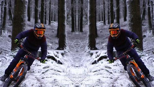 这个自行车牛人太帅了,骑着单车在雪地里疾驰,不怕摔倒吗