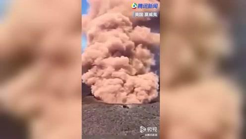 美国一火山爆发 熔岩滚滚流向居民区