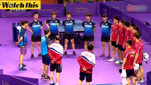实拍朝韩乒乓球联队合练 将在韩国公开赛上联合组队出战