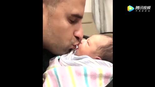 老爸突然亲了下刚出生的宝宝,下一秒宝宝的反应,太可爱了