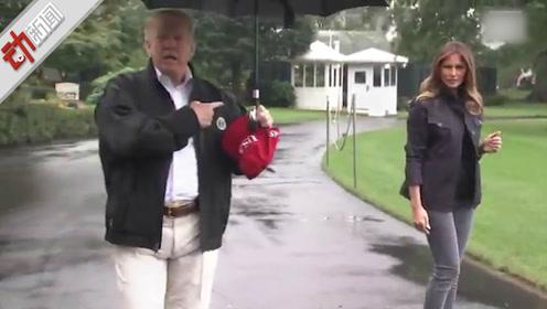 尴尬!特朗普独自撑伞接受采访 留妻子一人在雨中