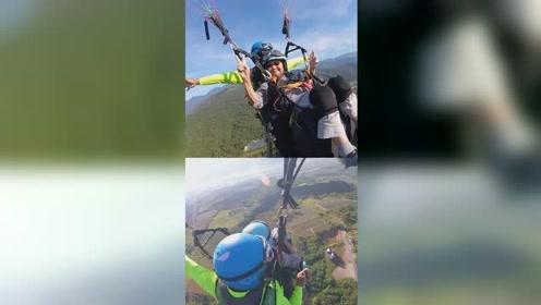 93岁老奶奶挑战滑翔伞 始终面带微笑还张开双臂拍照