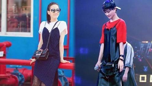 李宇春与迪丽热巴撞衫吊带裙 一个酷炫帅气一个清纯可爱
