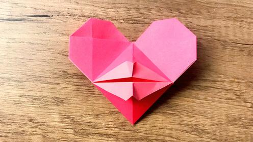 """一款简单可爱的""""嘟嘟嘴""""爱心折纸 超容易学!"""