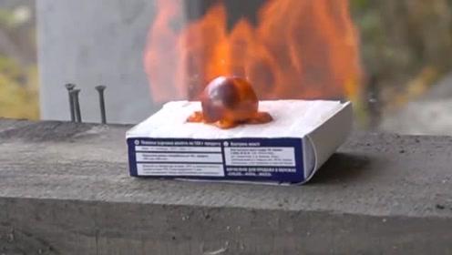 科技奇趣:将1000度的金属球放在糖上时,你猜会发生什么吗?